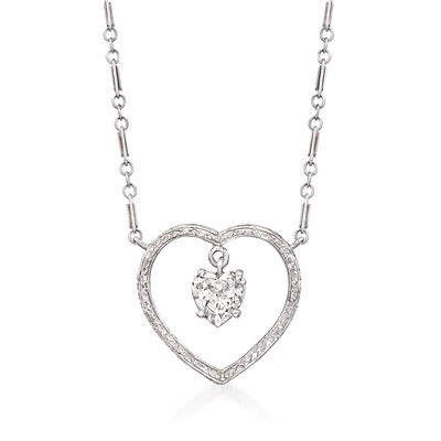 C. 1980 Vintage .65 Carat Diamond Open-Space Heart Necklace in Platinum and 14kt White Gold