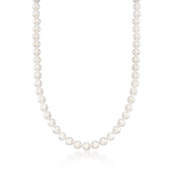 "Mikimoto 6.5mm A1 Akoya Pearl Necklace With 18kt White Gold. 16"", , default"