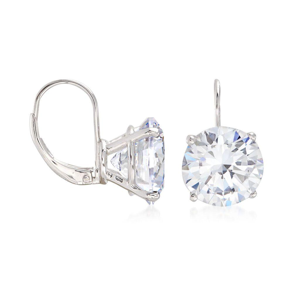 T W Round Cz Drop Earrings In Sterling Silver Default