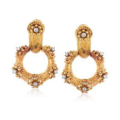 C. 1970 Vintage .75 ct. t.w. Diamond Doorknocker Earrings in 18kt Yellow Gold, , default