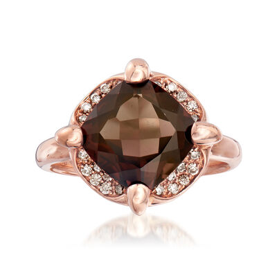 C. 1990 Vintage Mimi Milano 4.18 Carat Smoky Quartz and .20 ct. t.w. Cognac Diamond Ring in 18kt Rose Gold, , default