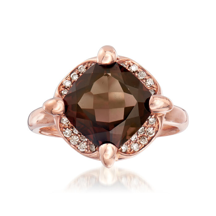 C. 1990 Vintage Mimi Milano 4.18 Carat Smoky Quartz and .20 ct. t.w. Cognac Diamond Ring in 18kt Rose Gold. Size 7, , default
