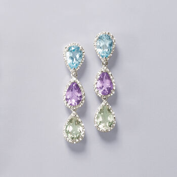 5.40 ct. t.w. Purple and Green Amethyst and 2.90 ct. t.w. Blue Topaz Earrings with Diamonds in Sterling Silver, , default