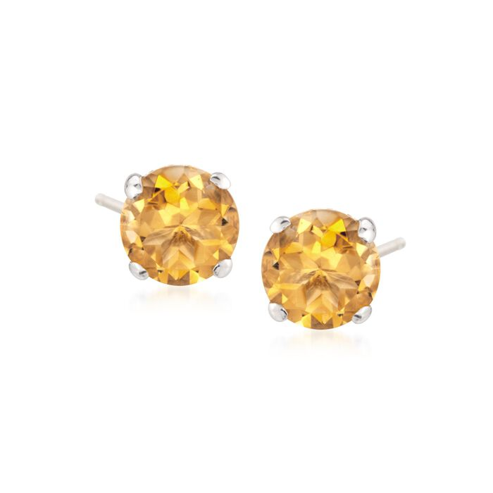 1.40 ct. t.w. Citrine Stud Earrings in 14kt White Gold, , default