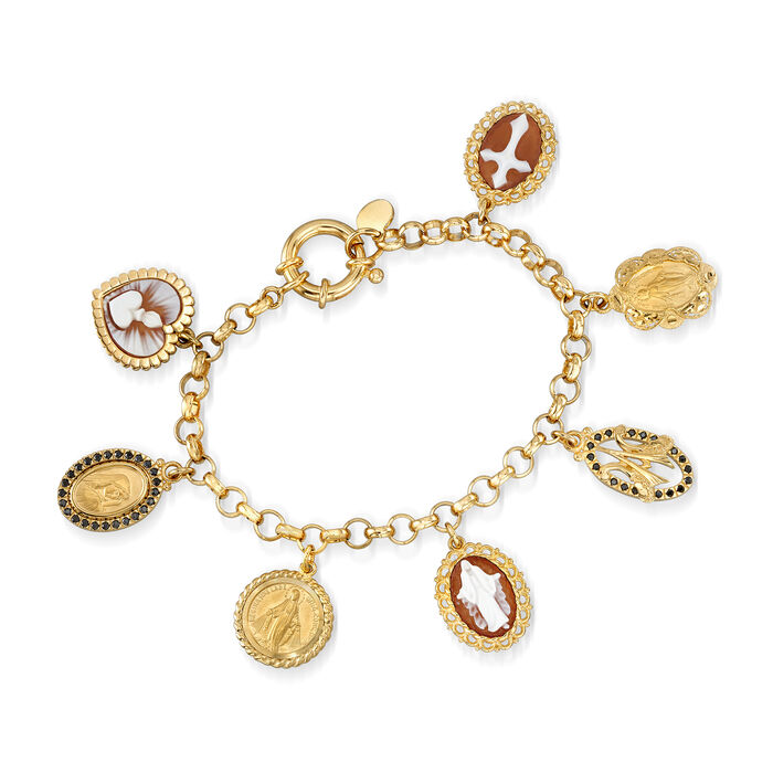 Italian Brown Shell Cameo and .20 ct. t.w. Black CZ Religious Charm Bracelet in 18kt Gold Over Sterling
