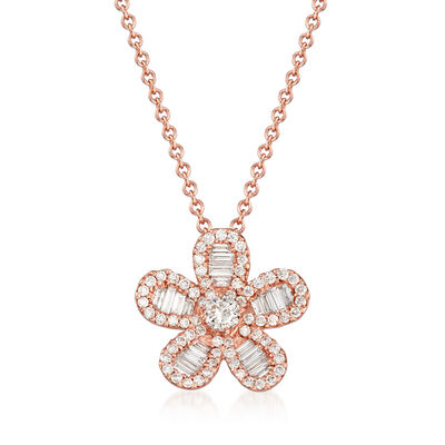 .61 ct. t.w. Diamond Flower Pendant Necklace in 18kt Rose Gold, , default