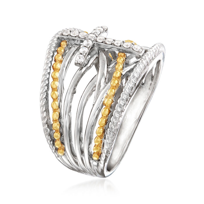 .15 ct. t.w. Diamond Cross Crisscross Ring in Sterling Silver and 18kt Gold Over Sterling