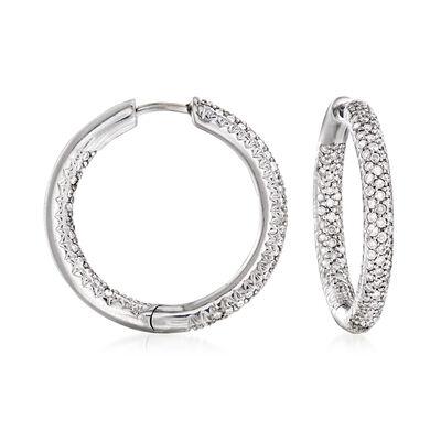 C. 1990 Vintage 1.00 ct. t.w. Diamond Inside-Outside Hoop Earrings in 14kt White Gold, , default