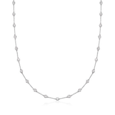 2.00 ct. t.w. Bezel-Set Diamond Station Necklace in 18kt White Gold, , default