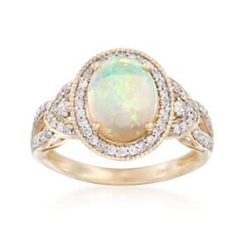 Opal and .40 ct. t.w. Diamond Ring in 14kt Yellow Gold, , default