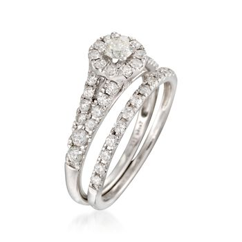 1.00 ct. t.w. Diamond Bridal Set: Engagement and Wedding Rings in 14kt White Gold, , default