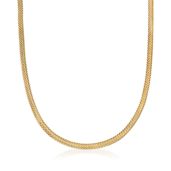 Italian 14kt Yellow Gold Double Flat Wheat Chain Necklace, , default