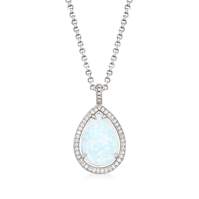 Charles Garnier Simulated Opal and .32 ct. t.w. CZ Pendant Necklace in Sterling Silver