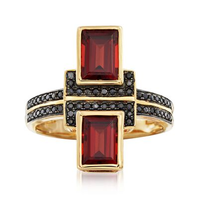 2.40 ct. t.w. Burgundy Garnet and .10 ct. t.w. Black Spinel Ring in 18kt Gold Over Sterling, , default