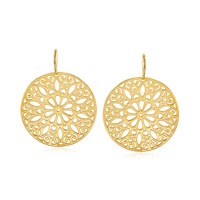 Italian Andiamo 14kt Yellow Gold Floral Disc Drop Earrings, , default