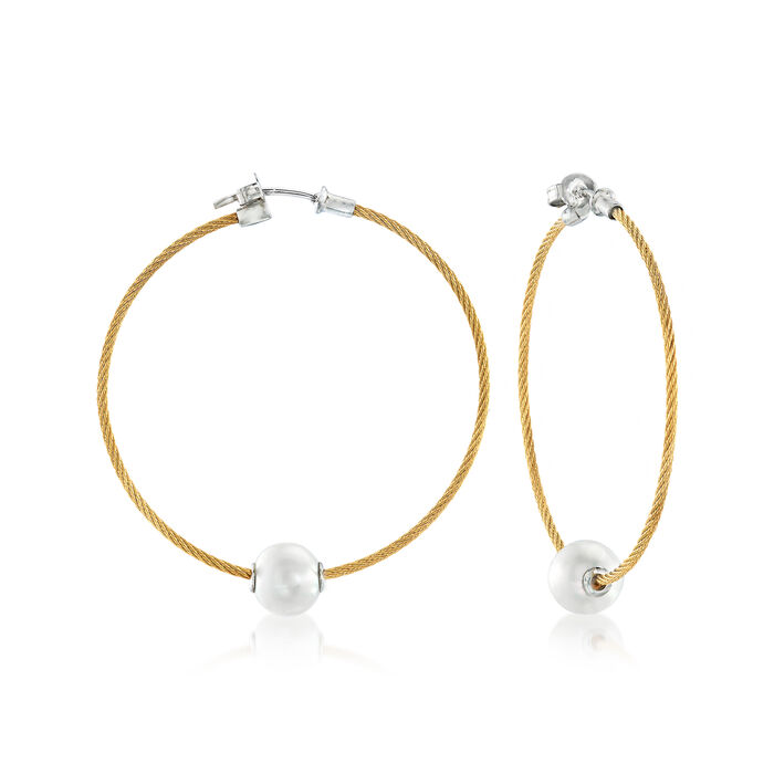 """ALOR """"Classique"""" 8mm Cultured Pearl and Yellow Stainless Steel Cable Hoop Earrings with 18kt White Gold. 1 3/4"""""""