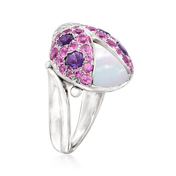 C. 2000 Vintage Mother-Of-Pearl and 2.30 ct. t.w. Multi-Gemstone Ladybug Ring with .20 ct. t.w. Diamonds in 18kt White Gold. Size 6.25