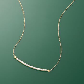 .10 ct. t.w. Diamond Curved Bar Necklace in 14kt Yellow Gold, , default