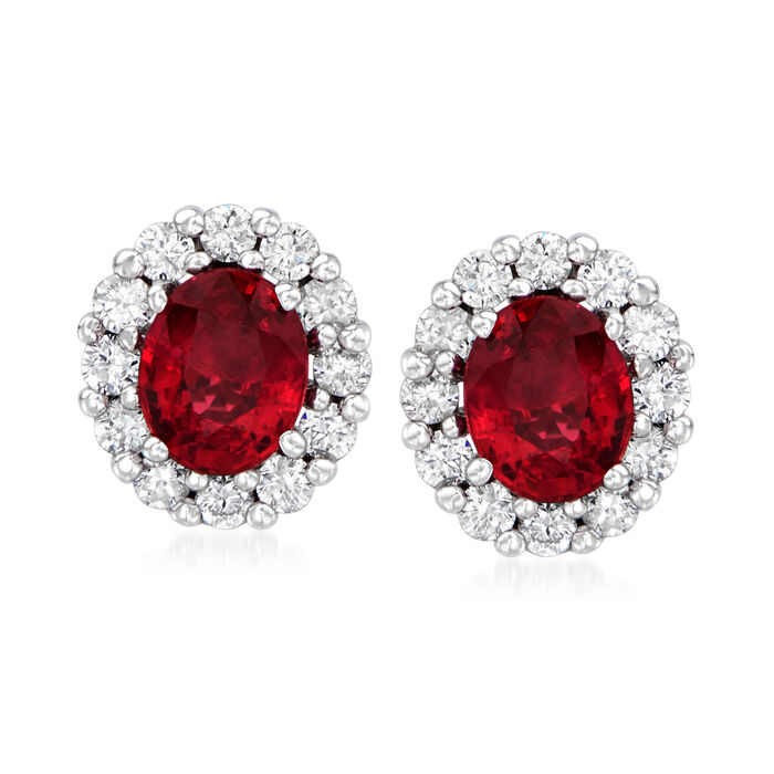 C. 2000 Vintage 1.00 ct. t.w. Ruby and .35 ct. t.w. Diamond Stud Earrings in 18kt White Gold