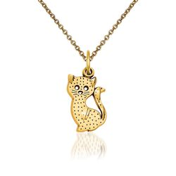 "14kt Yellow Gold Kitty Cat Pendant Necklace. 18"", , default"