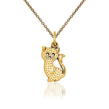 """14kt Yellow Gold Kitty Cat Pendant Necklace. 18"""", , default"""