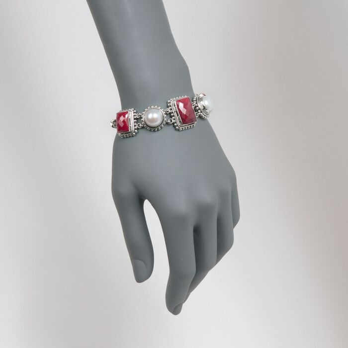 12mm Mabe Pearl and 33.50 ct. t.w. Ruby Bracelet in Sterling Silver