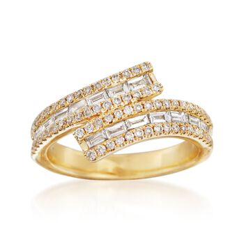 .83 ct. t.w. Diamond Bypass Ring in 18kt Yellow Gold, , default