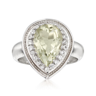 2.10 Carat Prasiolite and .40 ct. t.w. White Topaz Ring in Sterling Silver