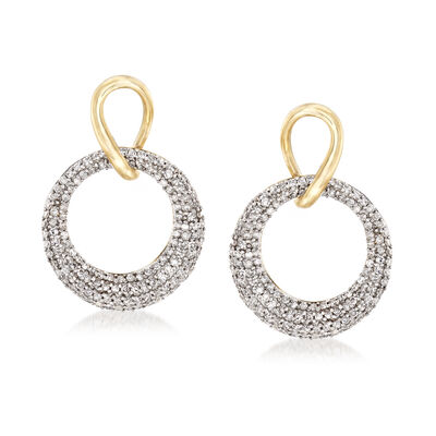 .75 ct. t.w. Diamond Circle Drop Earrings in 14kt Yellow Gold, , default