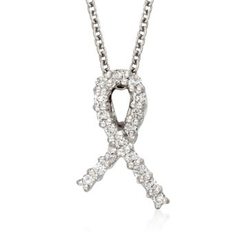 "Roberto Coin Tiny Treasure ""Hope"" Diamond Accent Necklace in 18kt White Gold. 18"", , default"