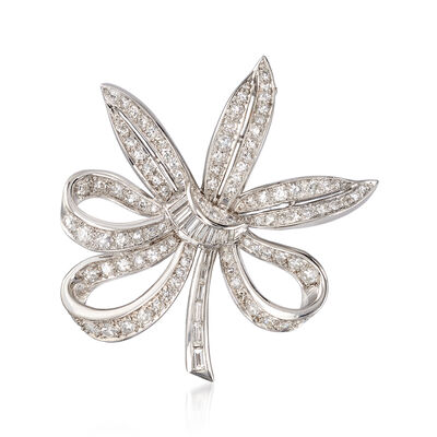 C. 1970 Vintage 1.70 ct. t.w. Diamond Floral Pin in Platinum, , default