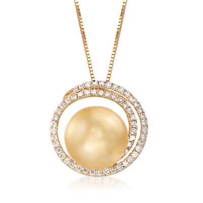 12-13mm Cultured Golden South Sea Pearl and .48 ct. t.w. Diamond Swirl Pendant Necklace in 18kt Yellow Gold, , default