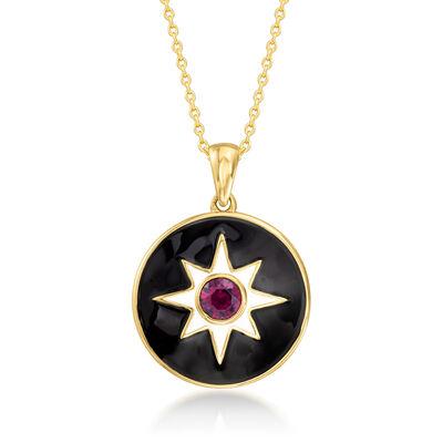 Multicolored Enamel and .60 Carat Rhodolite Garnet Pendant Necklace in 18kt Gold Over Sterling