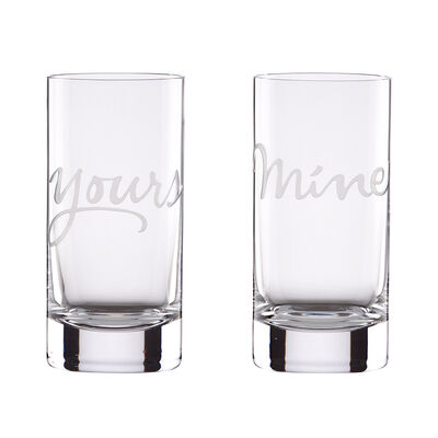 "Kate Spade New York ""Two of a Kind"" Set of 2 ""Yours"" and ""Mine"" Highball Glasses"