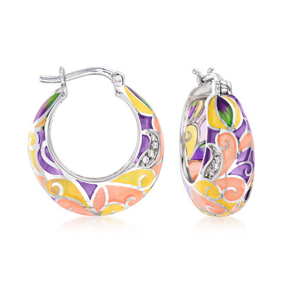 Multicolored Enamel Hoop Earrings with White Topaz Accents in Sterling Silver