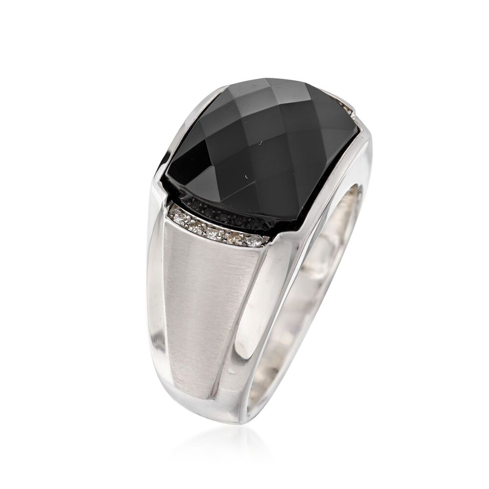 mens black onyx ring with diamond accents in sterling