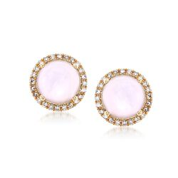 Pink Mother-Of-Pearl and .14 ct. t.w. Diamond Stud Earrings in 14kt Yellow Gold, , default