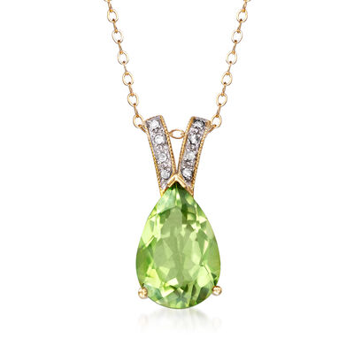 C. 1990 Vintage 6.55 Carat Green Topaz Pendant Necklace with Diamond Accents in 10kt Yellow Gold, , default