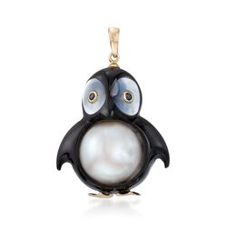 13mm Cultured Pearl and Black Agate Penguin Pendant With Sapphire Accents and 14kt Gold , , default