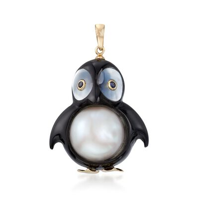 13mm Cultured Pearl and Black Agate Penguin Pendant with Sapphire Accents and 14kt Gold, , default