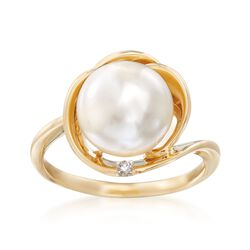 10-10.5mm Cultured Pearl Swirl Ring With Diamond Accent in 14kt Yellow Gold, , default