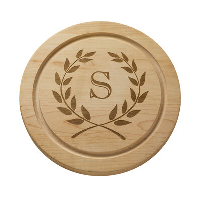Personalized Laurel Wreath Round Maple Wood Cheese Board, , default