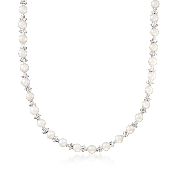 """C. 2000 Vintage 6mm Cultured Pearl and 4.80 ct. t.w. Diamond Cluster Necklace in 14kt White Gold. 17"""", , default"""