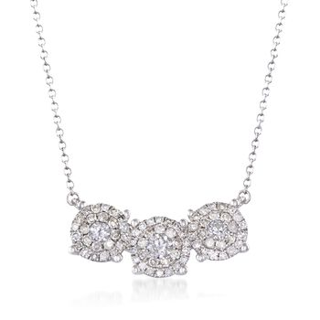 """.51 ct. t.w. Diamond Illusion Necklace in 14kt White Gold. 18"""", , default"""