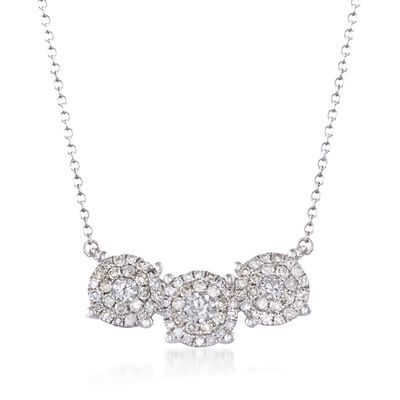 .51 ct. t.w. Diamond Three-Circle Cluster Necklace in 14kt White Gold, , default