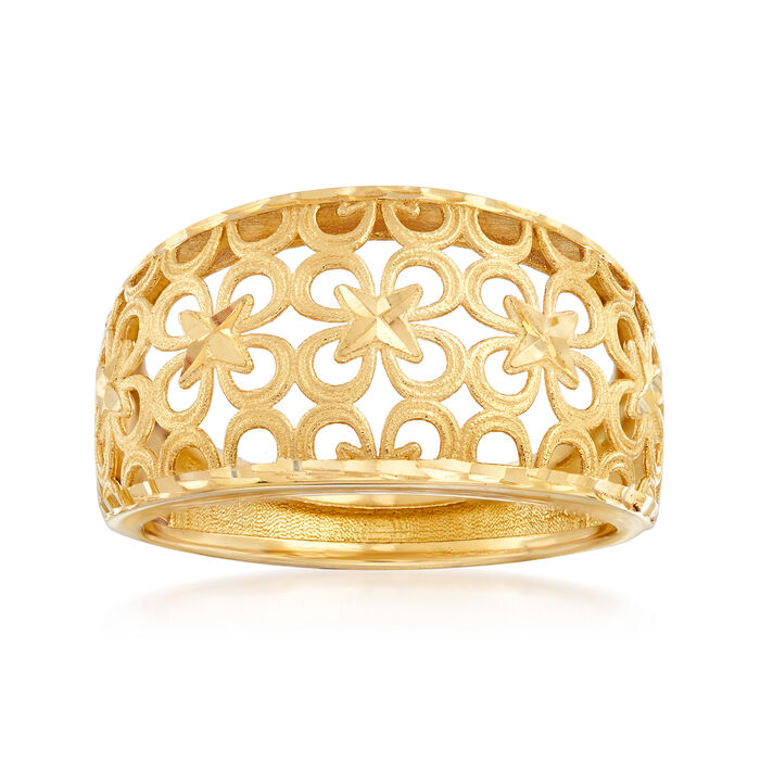 Italian 18kt Yellow Gold Floral Ring, , default