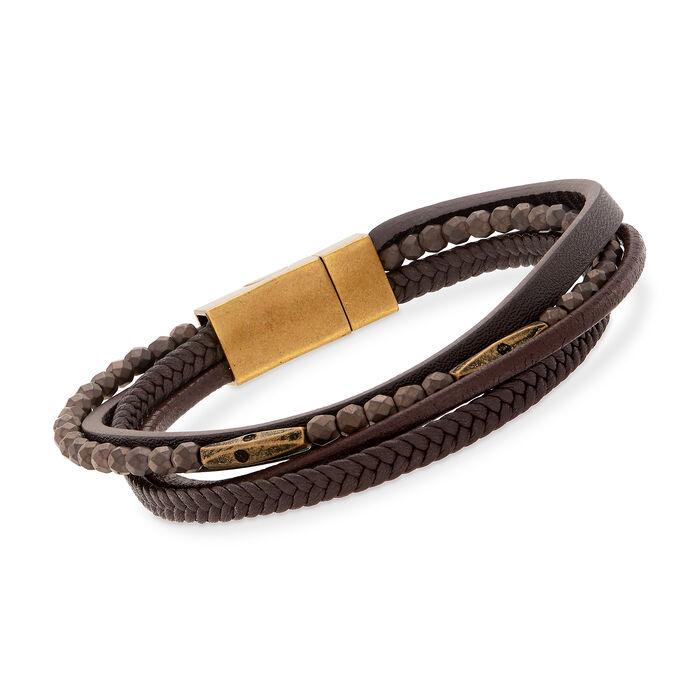 """Men's Multi-Strand Hematite Bracelet With Stainless Steel. 8.25"""", , default"""