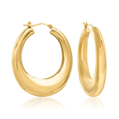 Italian Andiamo 14kt Yellow Gold Over Resin Hoop Earrings