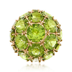 16.35 ct. t.w. Peridot Dome Ring in 14kt Yellow Gold, , default