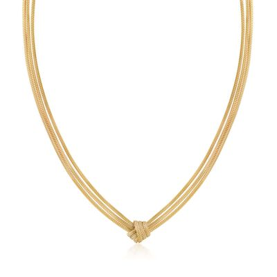 Italian 18kt Gold Over Sterling Silver Three-Strand Mesh Knot Necklace, , default